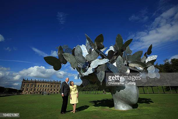 The Duke and Duchess of Devonshire view Butterflies by artist Manolo Valdes at Chatsworth House as part of the Sotheby's Beyond Limit's sculpture...
