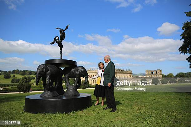 The Duke and Duchess of Devonshire view the sculpture 'Composition' by Barry Flanagan which is part of the annual Sotheby's monumental scuplture...