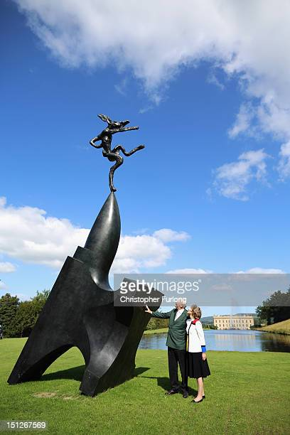 The Duke and Duchess of Devonshire view the sculpture 'Large Nijinski on Anvil Point' by Barry Flanagan , which is part of the annual Sotheby's...