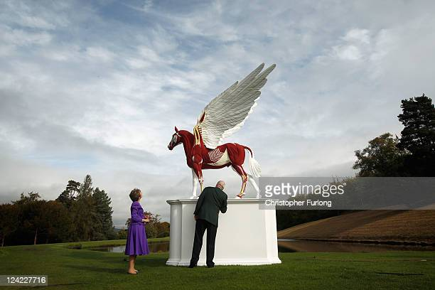 The Duke and Duchess of Devonshire view the sculpture Legend by Damien Hirst in the gardens of their home Chatsworth House on September 9, 2011 in...