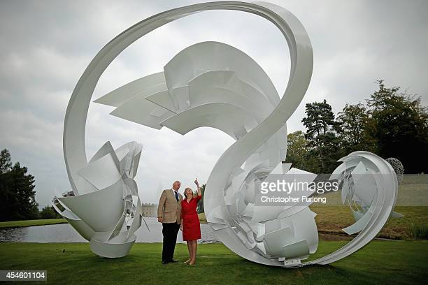 The Duke and Duchess of Devonshire view the work Hoop-La by Alice Acock which is part of the annual Sotheby's monumental scuplture exhibition 'Beyond...