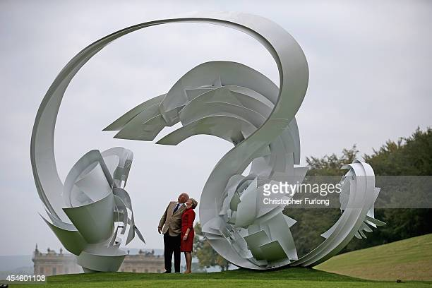 The Duke and Duchess of Devonshire view the work HoopLa by Alice Acock which is part of the annual Sotheby's monumental scuplture exhibition 'Beyond...