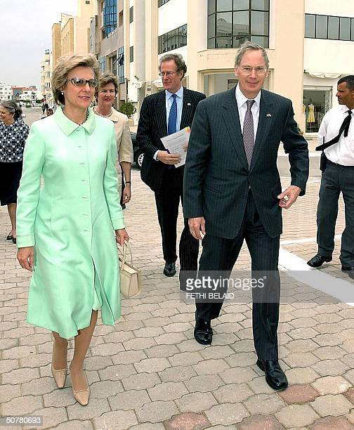 The Duke and Duchess of Gloucester arrive for the inauguration of the new British Embassy in Tunis 28 April 2004 The new Embassy replaces an old one...