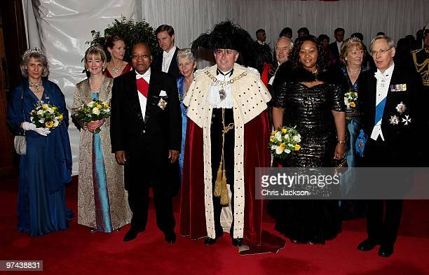The Duke and Duchess of Gloucester pose for a photograph with South African President Jacob Zuma and his wife Thobeka Madiba Zuma and the Lord Mayor...
