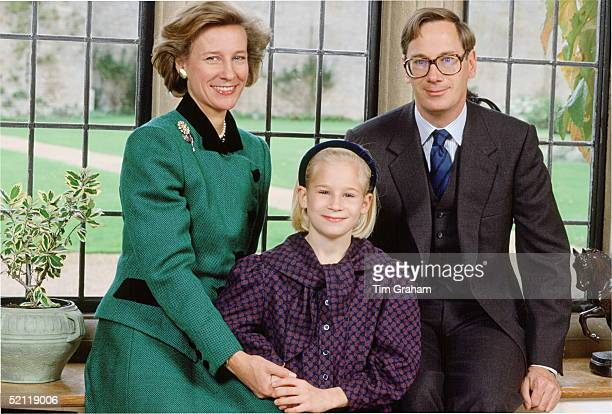 The Duke And Duchess Of Gloucester With Their Daughter Lady Davina Windsor At Their Home Barnwell Manor In Northamptonshire
