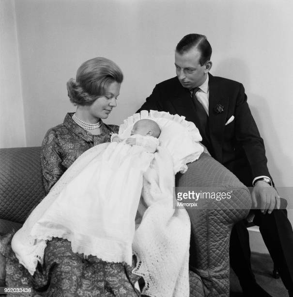 The Duke and Duchess of Kent with their baby son the Earl of St Andrews at their home Coppins in Iver Buckinghamshire 16th July 1962