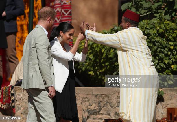 The Duke and Duchess of Sussex arrive at a social entrepreneurs event and market at the Andalusian Gardens in Rabat on the third day of their tour of...