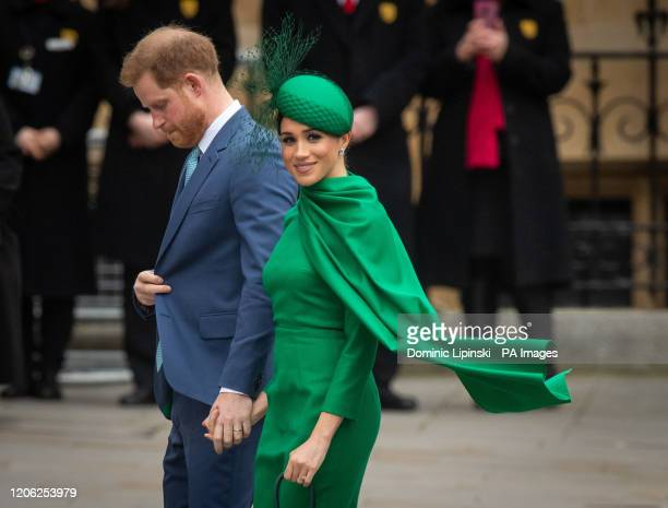 The Duke and Duchess of Sussex arrive at the Commonwealth Service at Westminster Abbey London on Commonwealth Day The service is their final official...