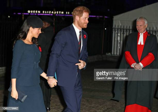The Duke and Duchess of Sussex arrive at Westminster Abbey London to attend a National Service to mark the centenary of the Armistice