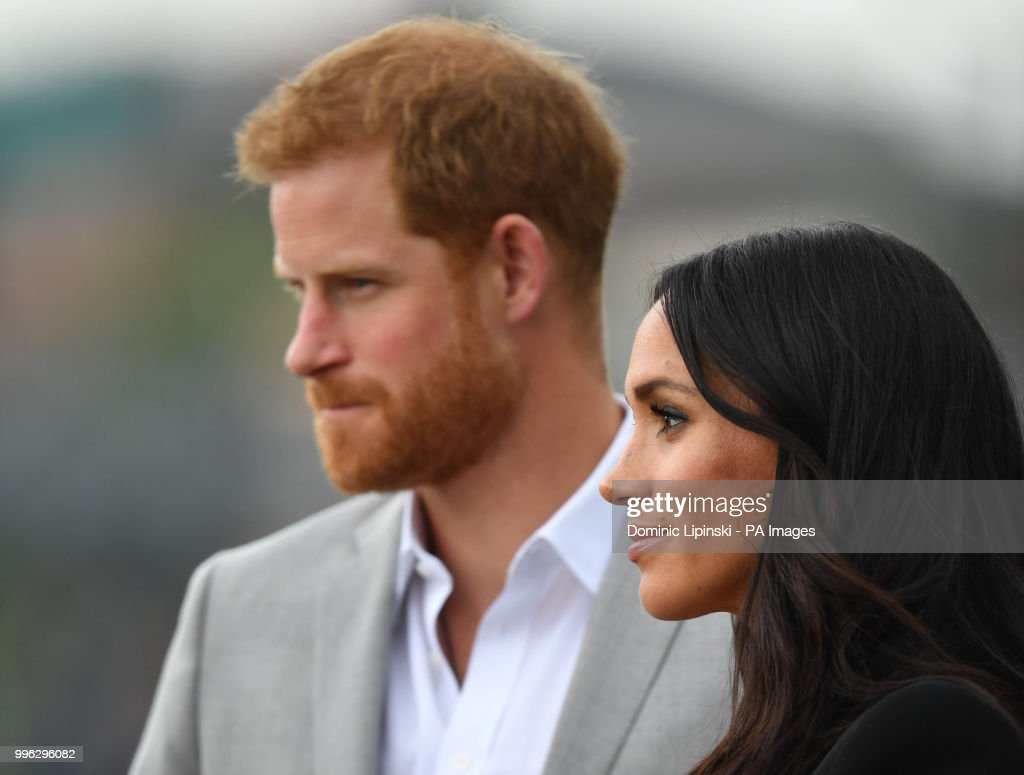 The Duke and Duchess of Sussex arrive to view the Famine Memorial, on the second day of their visit to Dublin, Ireland.
