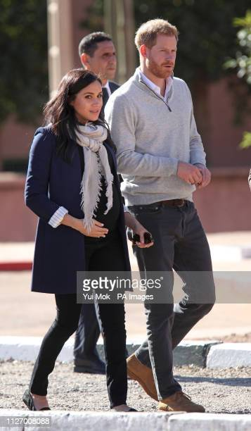 The Duke and Duchess of Sussex arriving at the 'Education For All' boarding house in Asni Town, Atlas Mountains on the second day of their tour of...