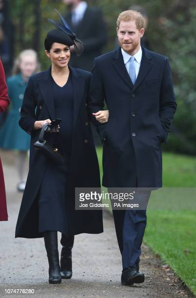 The Duke and Duchess of Sussex arriving to attend the Christmas Day morning church service at St Mary Magdalene Church in Sandringham Norfolk