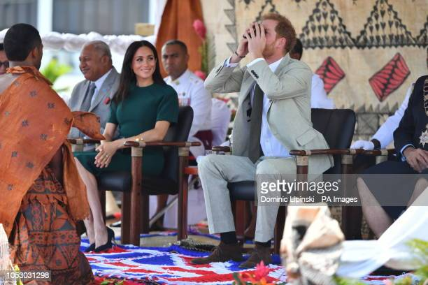 The Duke and Duchess of Sussex attend the unveiling of a statue commemorating Sergeant Talaiasi Labalaba at Nadi Airport in Nadi Fiji on day three of...