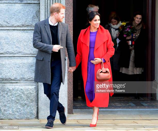 The Duke and Duchess Of Sussex depart from Birkenhead Town Hall on January 14 2019 in Birkenhead England