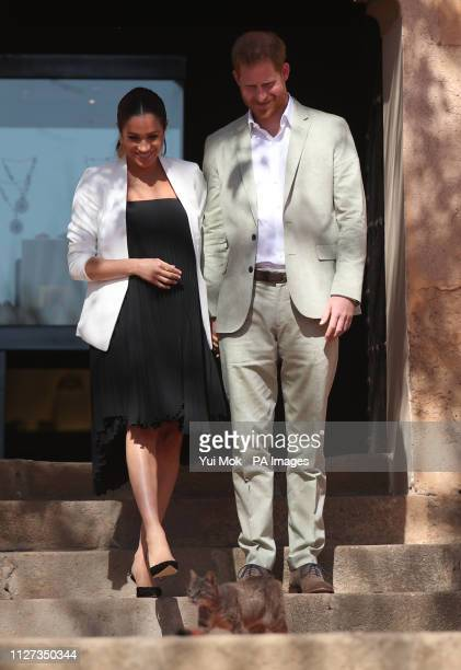 The Duke and Duchess of Sussex during a social entrepreneurs event and market at the Andalusian Gardens in Rabat on the third day of their tour of...