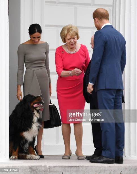 The Duke and Duchess of Sussex greet President Michael D Higgins and Sabina Higgins as they arrive at Aras an Uactharain on the second day of the...