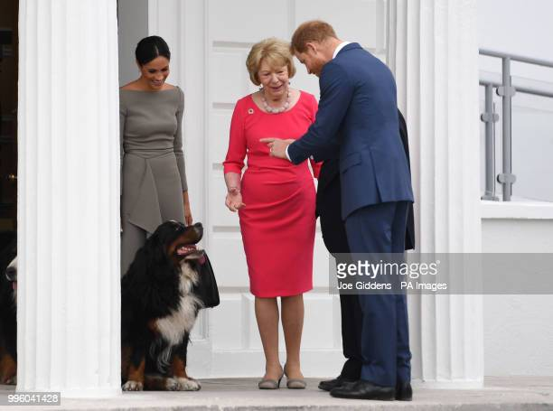 The Duke and Duchess of Sussex greet Sabina Higgins as they arrive at Aras an Uactharain on the second day of the Royal couple's visit to Dublin...