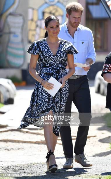 The Duke and Duchess of Sussex leave the Nyanga Township in Cape Town, South Africa, after a visit to a workshop that teaches children about their...