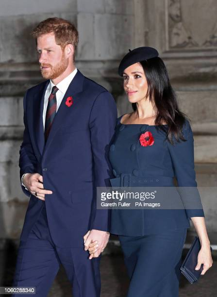 The Duke and Duchess of Sussex leave Westminster Abbey in London following a National Service to mark the centenary of the Armistice