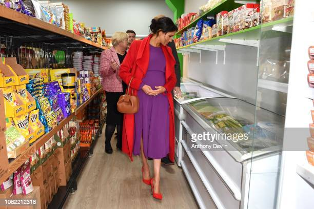 The Duke and Duchess of Sussex officially open Number 7 a Feeding Birkenhead citizens supermarket and community cafe on January 14 2019 in Birkenhead...