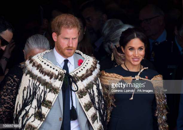 The Duke and Duchess of Sussex wear traditional Maori cloaks called Korowai during a visit to Te Papaiouru Ohinemutu in Rotorua before a lunch in...