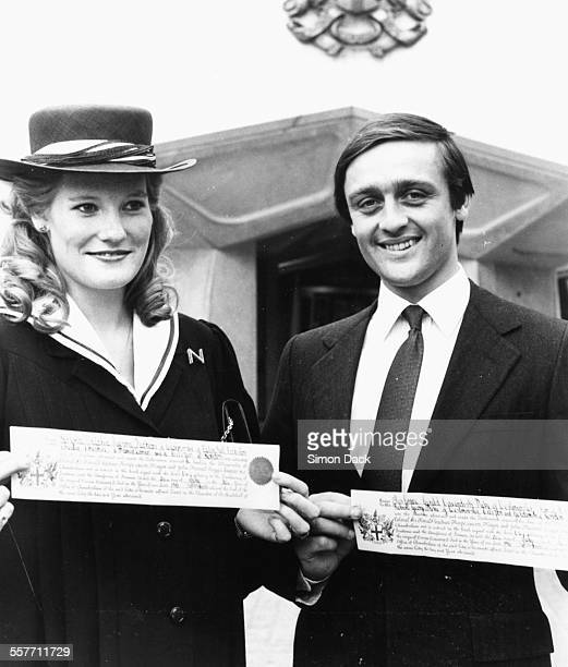 The Duke and Duchess of Westminster Gerald and Natalia Grosvenor smiling after receiving their Freedom of the City of London at the Guildhall July...