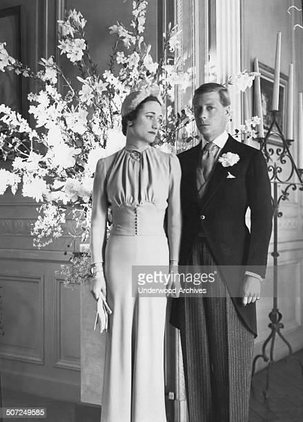 The Duke and Duchess of Windsor at the Chateau de Cande pose for a portrait after their wedding, Monts, France, June 3, 1937. She is the former...