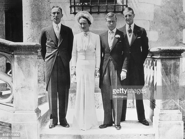 The Duke and Duchess of Windsor photographed outside the Chateau de Cande 6/3 after the civil and religious ceremonies that united them in marriage....