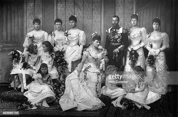 The Duke and Duchess of York and bridesmaids, 1893. Featured are Princess Alexandra of Edinburgh, Princess Victoria of Schleswig-Holsteun, Princess...