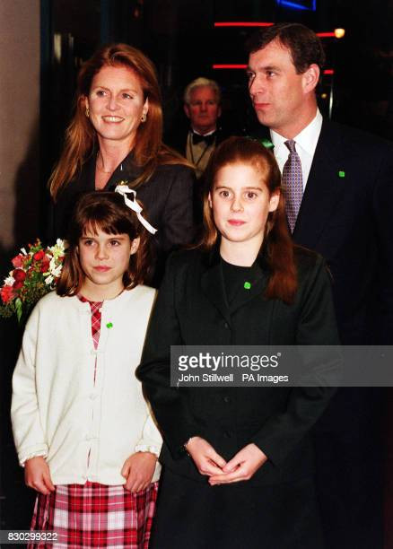 The Duke and Duchess of York arrive with their daughters Princess Beatrice and Princess Eugenie at the Warner Village Leicester Square for the Royal...