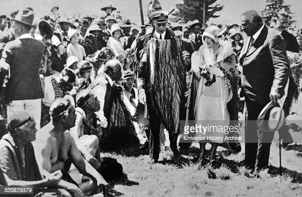 The Duke and Duchess of York attend a Maori ceremony in New Zealand during their visit to Cambera 1927