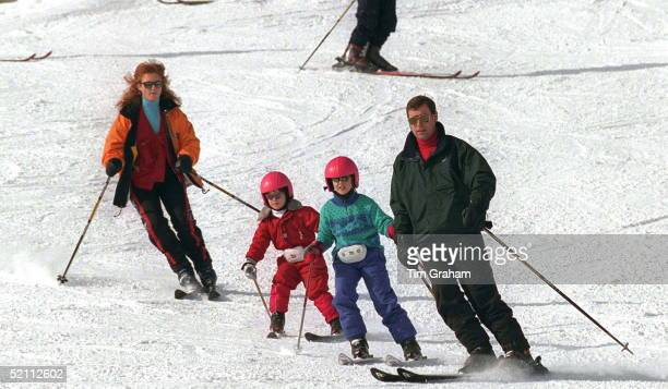 The Duke And Duchess Of York Skiing In Verbier, Switzerland With Their Daughters Princess Beatrice And Princess Eugenie.