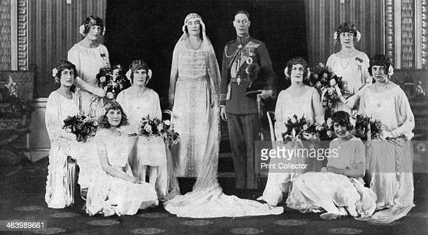 The Duke and Duchess of York surrounded by her eight bridesmaids 1923 A print from The Illustrated London News Wedding Number 28th April 1923