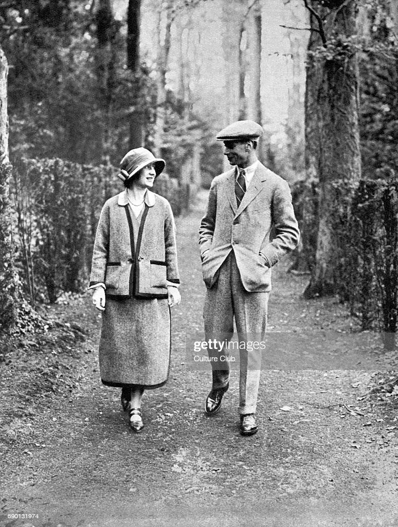 The Duke and Duchess of York (Prince Albert, later King George VI, and Elizabeth Bowes-Lyon, later the Queen Mother), taking a walk on their honeymoon in 1923