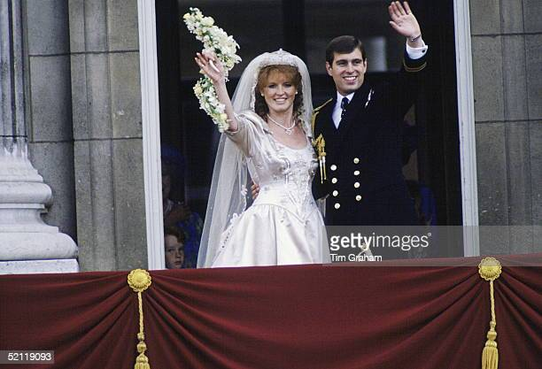 The Duke And Duchess Of York Waving To The Crowds From The Balcony At Buckingham Palace On Their Wedding Day