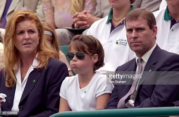 The Duke And Duchess Of York With Princess Eugenie Watching A Charity Tennis Tournament At Buckingham Palace Tennis Courts On Behalf Of The Nspcc