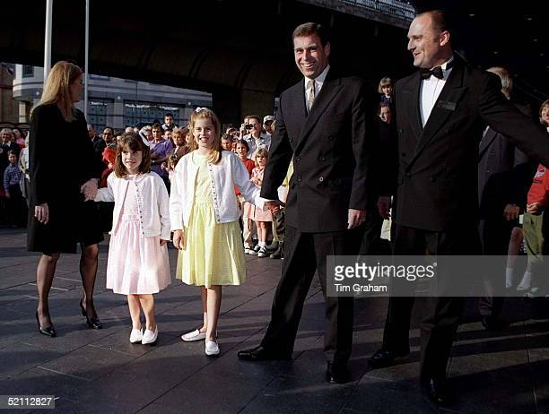 The Duke And Duchess Of York With Princesses Eugenie And Beatrice Arrive At London's Apollo Theatre To See Drdolittle