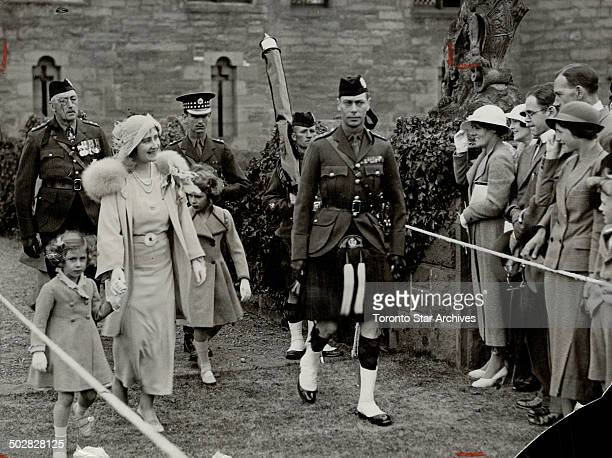 The Duke and Duchess of York with their children attending the ceremony at Glamis Castle when the 45th Black Watch received new colors replacing...