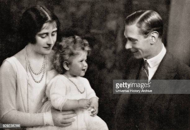 The Duke and Duchess of York with their daughter Princess Elizabeth immediately after their return from Australia in 1927. Albert Frederick Arthur...