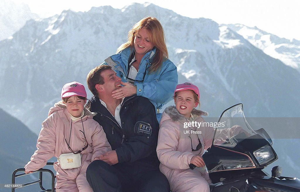 The Duke & Duchess of York sking, in Verbier with their daughters : News Photo