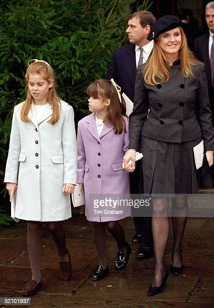 The Duke And Duchess Of York With Their Daughters Princess Beatrice And Princess Eugenie At The Memorial Service For Susan Barrantes At St Paul's...
