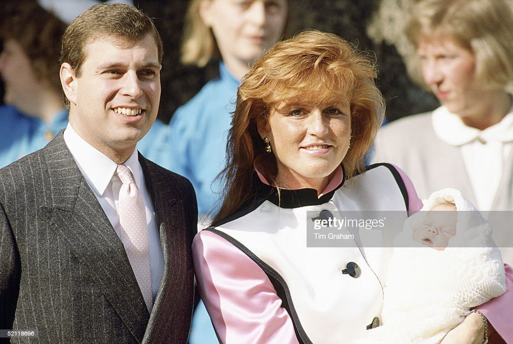 The Duke And Duchess Of York (prince Andrew And Sarah) With Their Newborn Daughter Princess Eugenie At The Portland Hospital
