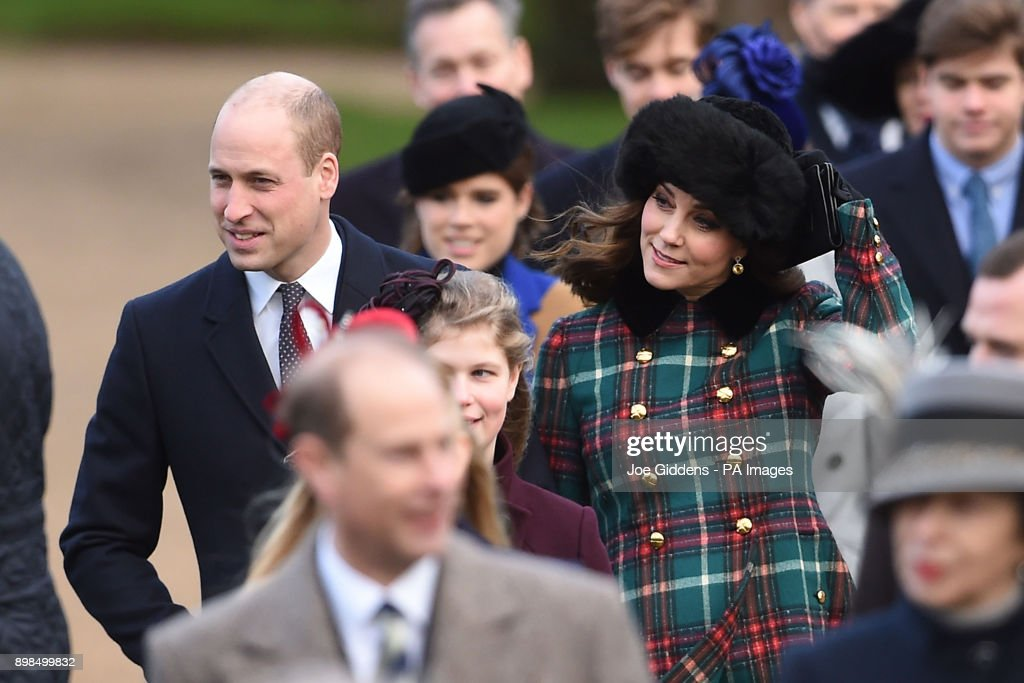 The Duke and the Duchess of Cambridge arriving to attend the Christmas Day morning church service at St Mary Magdalene Church in Sandringham, Norfolk.