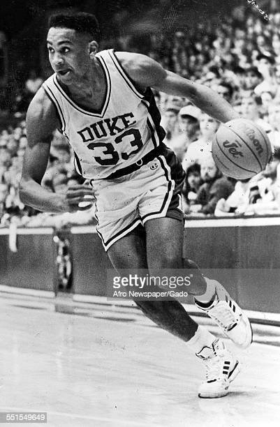 The Duke Basketball player sophomore Grant Hill scorer for the Blue Devils to take the NCAA title January 18 1992