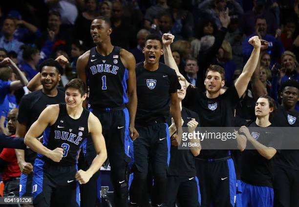 The Duke Blue Devils bench reacts in the final seconds of their 7569 win over the Notre Dame Fighting Irish during the championship game of the 2017...