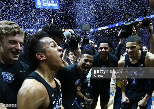 The Duke Blue Devils celebrate their 7569 win over the Notre Dame Fighting Irish in the championship game of the 2017 Men's ACC Basketball Tournament...