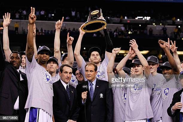 The Duke Blue Devils celebrate with the trophy after they won 6159 against the Butler Bulldogs during the 2010 NCAA Division I Men's Basketball...