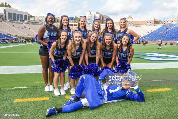 The Duke Blue Devils Cheerleaders during a college football game between the North Carolina Central Eagles and the Duke Blue Devils on September 2...