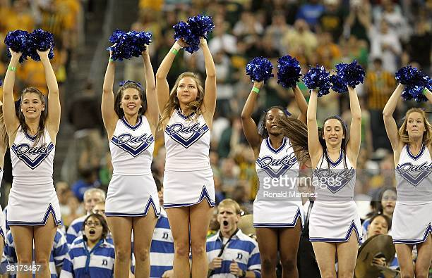 The Duke Blue Devils cheerleaders during the south regional final of the 2010 NCAA men's basketball tournament at Reliant Stadium on March 28 2010 in...