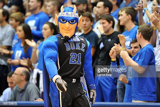 The Duke Blue Devils mascot looks on during a game between the WinstonSalem State Rams and the Duke Blue Devils at Cameron Indoor Stadium on November...